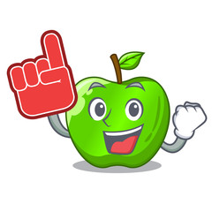 Foam finger green smith apple isolated on cartoon