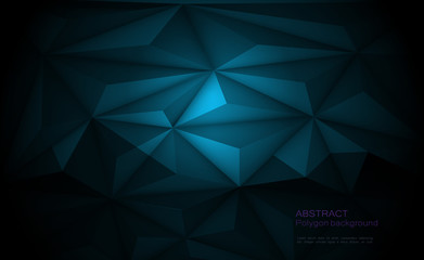 Vector 3D Geometric, Polygon, Line, Triangle pattern shape for background. Illustration low poly, polygonal design with dark blue color. Abstract futuristic, web, network concept