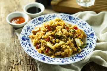 Asian fried rice with vegetables