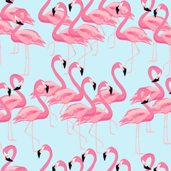 Printed roller blinds Flamingo Tropical flamingo bird seamless pattern background. Colorful tropical poster design. Flamingos art print. Wallpaper, fabric, textile, wrapping paper vector illustration design