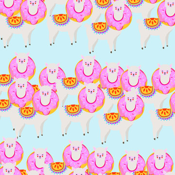 Colorful llama or alpaca with donut seamless pattern background. Llama animal poster design. Llama or alpaca art print. Wallpaper, fabric, textile, wrapping paper vector illustration design