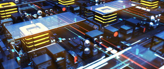 Close up macro motherboard circuit. High resolution 3d render