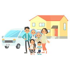 3世帯家族 住宅 車