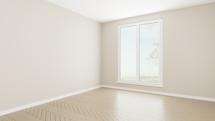 3d render empty room pastel relax style single bed room type light brown corner