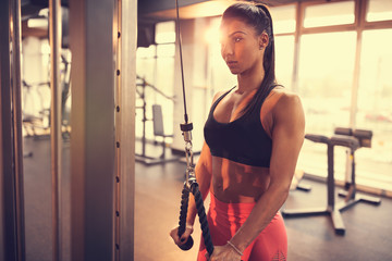 Athlete woman in gym
