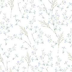 Watercolor summer seamless pattern of blue wildflowers