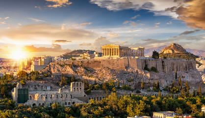 Fond de hotte en verre imprimé Athenes Sonnenuntergang über der Akropolis von Athen mit dem Parthenon Tempel, Griechenland
