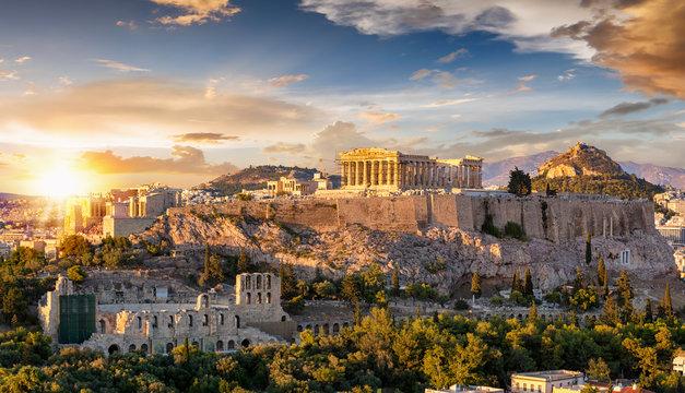Sonnenuntergang über der Akropolis von Athen mit dem Parthenon Tempel, Griechenland