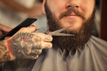 Barber with scissors shaving bearded close up.