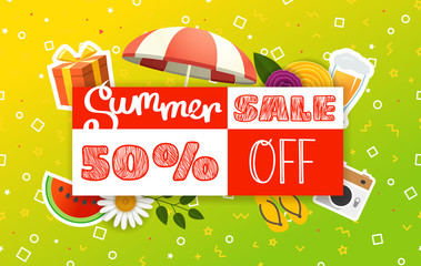 Abstract color sale banner template. Summer sale vector illustration