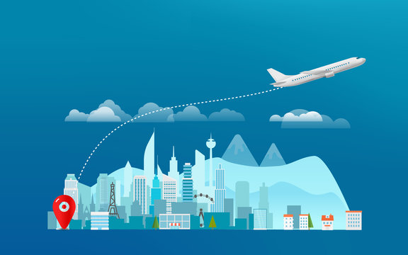 World travelling concept. Travel banner with aircraft and the city