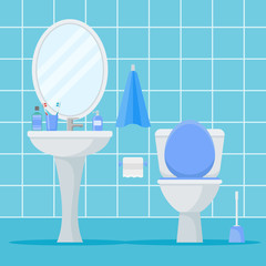 Bathroom interior with toilet bowl, washbasin and mirror. Flat style vector illustration.