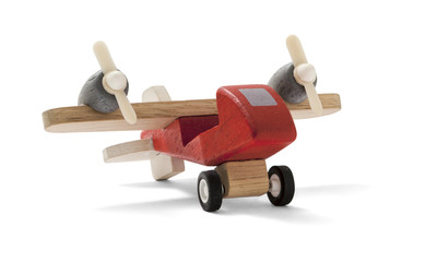 Close-up of an airplane isolated on a white background. Toy airplane.