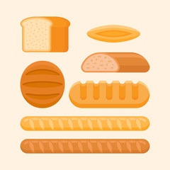 Set of bakery products isolated on light background. Rye and wheat bread, long loaf, french baguette, bun. Flat style vector illustration.