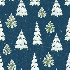 Watercolor fir tree christmas pattern