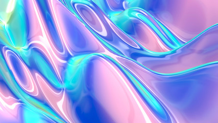 Abstract liquid background, holographic surface, reflection, spectrum. Wall mural