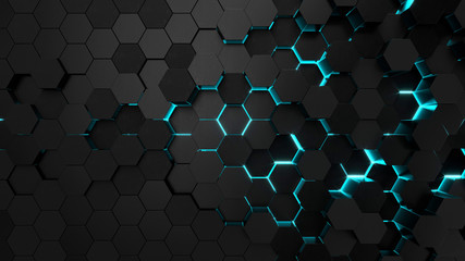 Technological hexagonal background with blue neon illumination