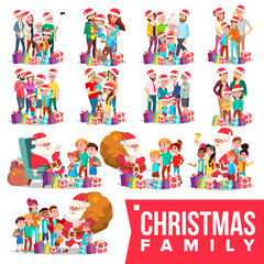 Christmas Family Portrait Set Vector. Full Happy Family. Traditional Event. Santa Hats. Merry Christmas, Happy New Year. Gifts. Parents, Grandparents, Children. Greeting, Postcard Design. Illustration