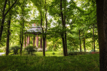 Old Chinese gazebo in a Public Park of Wilanow Garden