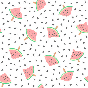 Seamless watermelons pattern. Vector background with watermelon