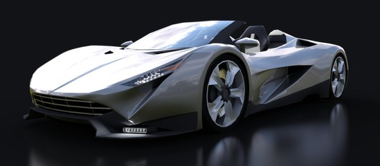 Silvery conceptual sports cabriolet for driving around the city and racing track on a black background. 3d rendering.