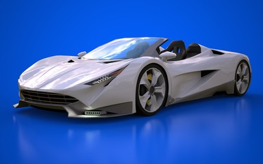 White conceptual sports cabriolet for driving around the city and racing track on a blue background. 3d rendering.