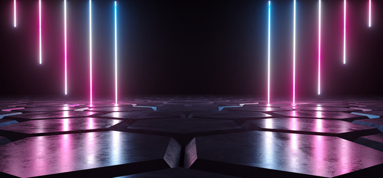 Futuristic Sci Fi Dark Empty Room With Blue And Purple Neon Glowing Line Tubes On Grunge Concrete Hexagon Shaped Floor With Reflections 3D Rendering