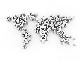World map made of metal cubes isolated on white background