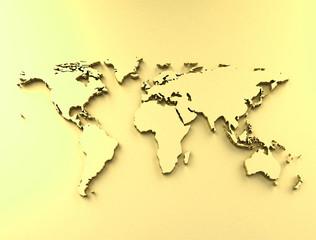 World map golden surface
