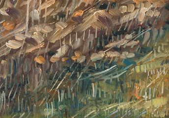 Oil painting texture. Reeds and dry coastal vegetation. Bright colored paints. Large rough brush strokes.