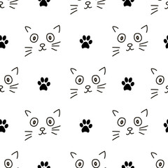 Seamless patterns with cats faces and footprints.