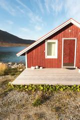 Wooden Beach Hut in Tromso Fjord, Norway