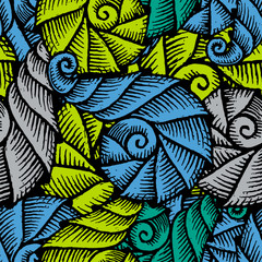 Seamless pattern with hand drawn spiral seashells. Marine theme. Vector illustration