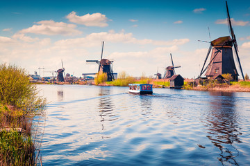 Famous windmills in Kinderdijk museum in Holland.