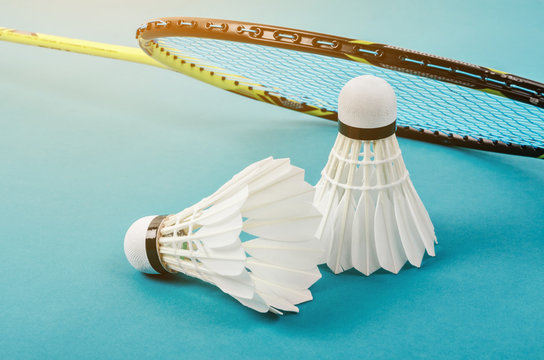 shuttlecock and badminton racket.
