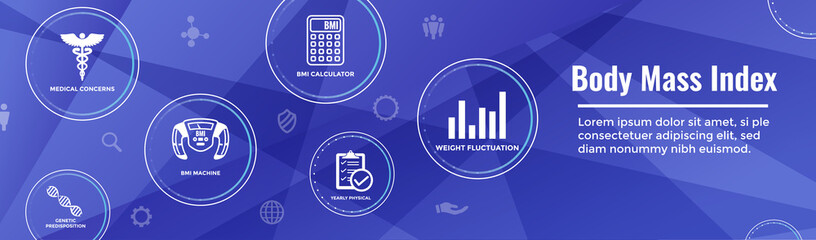 BMI or Body Mass Index Icons with scale, indicator, & calculator