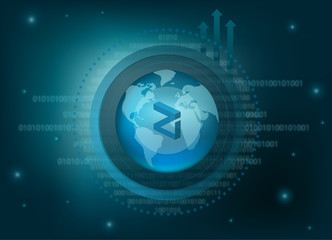 Zilliqa Cryptocurrency Coin Global Binary Background
