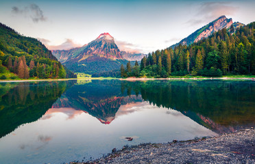 Colorful summer landscape on the Obersee lake