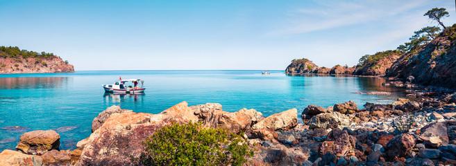 Splendid Mediterranean seascape in Turkey. Panorama of a small azure bay near the Tekirova village, District of Kemer, Antalya Province