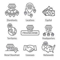 Franchise Icon Set with Home Office, corporate Headquarters and Franchisee Icon Images