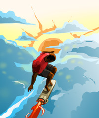 Boy surfing rocket, illustration images. surfing through the clouds.