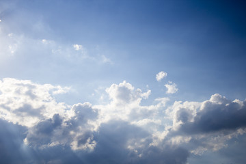 A beautiful clouds in the blue, sunny, sky.
