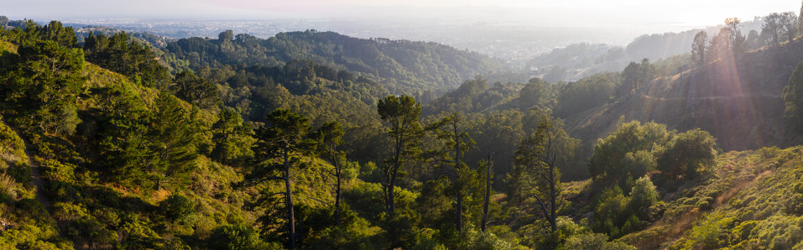 Aerial Panorama of Oakland Hills in Northern California