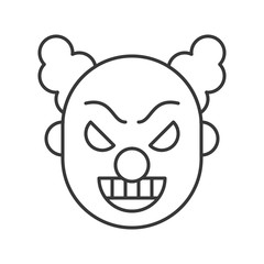 scary clown or joker, halloween character icon editable stroke