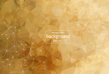Geometric Brown Polygonal background molecule and communication. Connected lines with dots. Minimalism background. Concept of the science, chemistry, biology, medicine, technology.