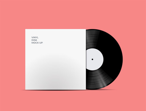 LP Record Vinyl Disc Cover with Vinyl disc inside. Realistic vector mockup. Vector Illustration.