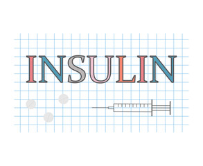 insulin word on checkered paper sheet- vector illustration