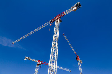 Tower cranes against the blue sky - construstion concept