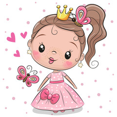 Cute Princess on a white background