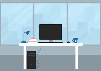 Office with a large window and city views. White desk with black computer, monitor and keyboard with mouse, tea cup and book. Flat design.